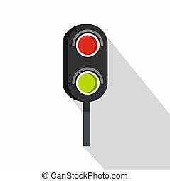 Semaphore trafficlight icon, flat style - Semaphore...