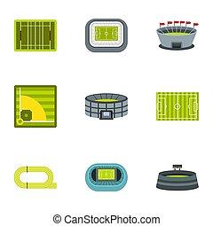 Stadium icons set, flat style - Stadium icons set. Flat...