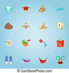 April fool day icons set, cartoon style - April fool day...