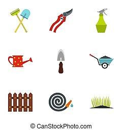 Farm icons set, flat style - Farm icons set. Flat...