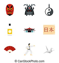 Attractions of Japan icons set, flat style