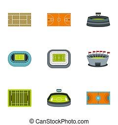 Game at stadium icons set, flat style - Game at stadium...