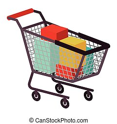 Isolated shopping card design - Shopping cart icon. Commerce...