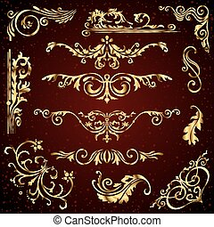 Floral vector set of golden ornate page decor elements like banners, frames, dividers, ornaments and patterns on dark background. Gold calligraphic swirls