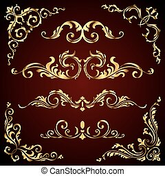 Victorian vector set of golden ornate page decor elements like banners, frames, dividers, ornaments and patterns on dark background. Gold calligraphic swirls