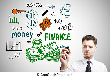 Money concept - Handsome young businessman drawing creative...