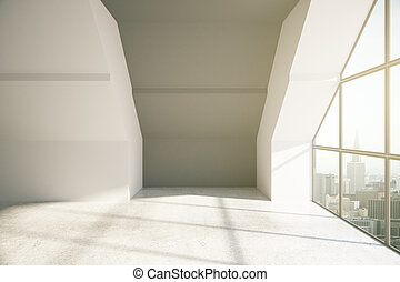 Loft room with city view and daylight. 3D Rendering