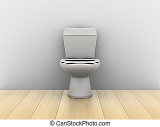 Room with water closet. 3D image