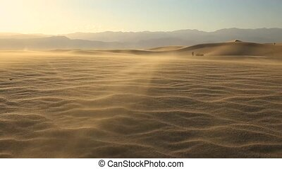 panning over the sand dunes in Death Valley