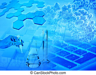 biochemical research and medical analysis abstract blue background