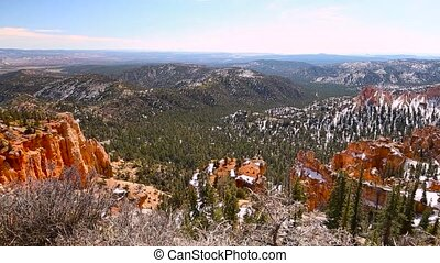 Bryce Canyon on a sunny winter day panning shot