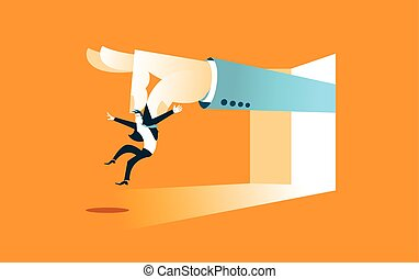 Large hand throws worker. You're fired. Vector illustration