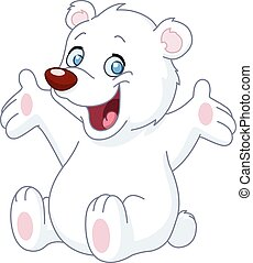 Happy white teddy bear