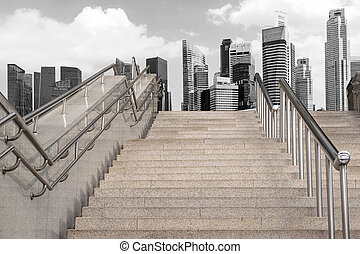 Marble staircase and the skyscrapers