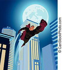 superhero flying through the night city. Vector illustration