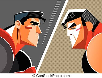 Good versus evil. Superhero. Vector illustration