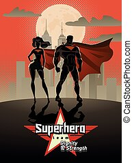 Poster. Superhero Couple: Male and female superheroes, posing in front of a light