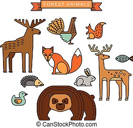 Vector illustrations of forest animals. Trendy linear design...