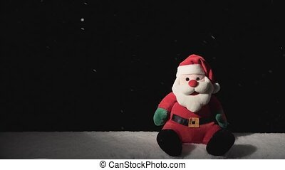 Santa Claus Toy with Falling Snow - Toy of Santa and falling...