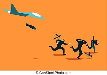 Bomber strikes at terrorists. Vector illustration
