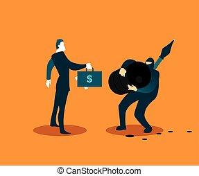 Terrorist selling stolen oil. Vector illustration