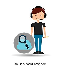 guy operator help service search cloud vector illustration...