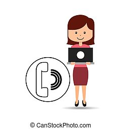 support assitance concept girl with telephone vector...