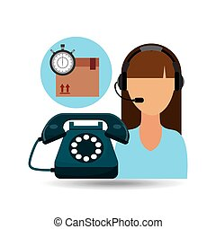 call centre woman working delivery time vector illustration...