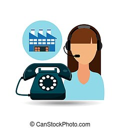 call centre woman working warehouse merchandise boxes vector...