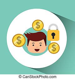 business man secure money currency