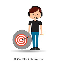 guy operator help service target vector illustration eps 10