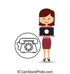 support assitance concept girl with helping telephone vector...