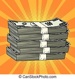 Stack of money dollar pop art retro comic book illustration