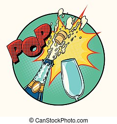 Pop sound of opening champagne, art retro comic book...