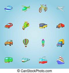 Transport icons set, cartoon style - Transport icons set....