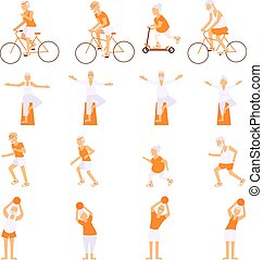 Set Elderly people doing exercises in different poses....