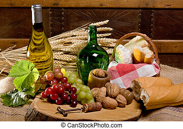 Wine and country food - Lunch setting of country food and...