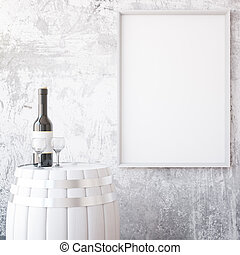 Wine and white frame - Barrel with wine glass and bottle on...