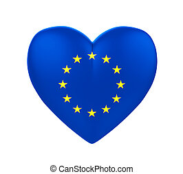 European Union Flag Heart isolated on white background. 3D...