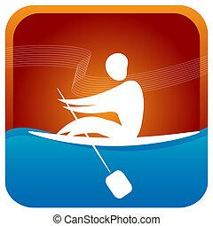 human paddling the boat