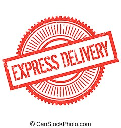 Express delivery stamp. Grunge design with dust scratches....