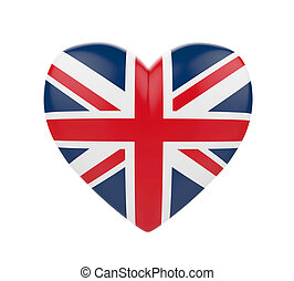 United Kingdom Flag Heart isolated on white background. 3D...