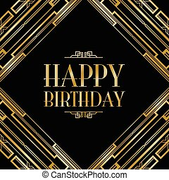 happy birthday art deco invitation