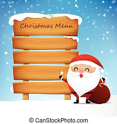 Christmas santa and blank wooden sign with copy space for Christmas menu vector illustration eps10