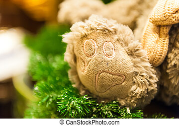 Paw teddy bear toys Frame Close-up shot sitting alone front...