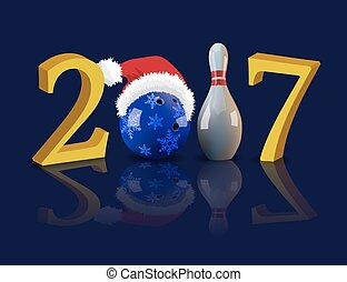 Bowling 2017 New Year with bowling ball and pin.