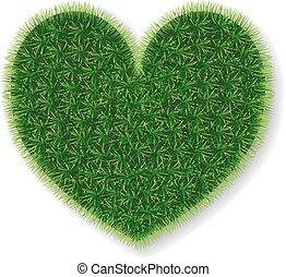 Vector heart made of grass.