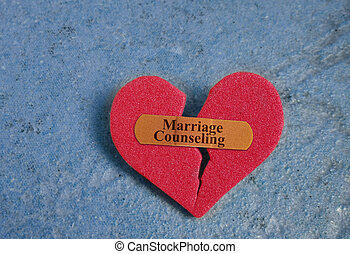 Marriage Counseling heart - Broken red heart with a Marriage...