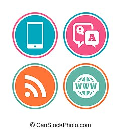 Question answer icon. Smartphone and chat bubble.