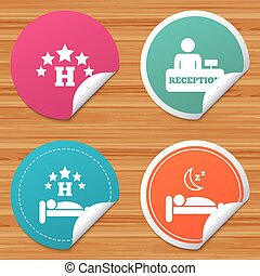 Five stars hotel icons. Travel rest place. - Round stickers...